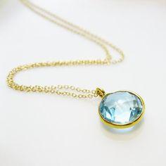 Swiss Blue Topaz Pendant Necklace, 14k gold filled - December Birthstone, Sky