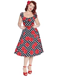 Dolores Polka Dot Rose Print Doll Dress 0