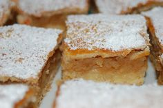 Almás pite (pastry will with apple and topped with powdered sugar; mmmm so yummy) Hungarian Cuisine, Hungarian Recipes, Hungarian Food, Cake Recipes, Dessert Recipes, Polish Recipes, Food Cakes, No Bake Desserts, Let Them Eat Cake