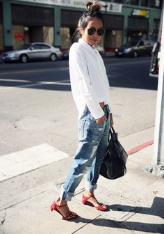 jeans, sandals and white blouse