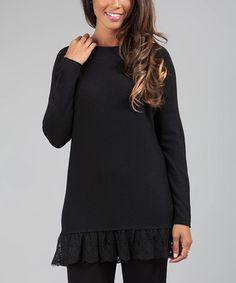 Black Lace Ruffle-Hem Tunic
