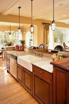 Cherry Wood Cabinets - Bearing in mind cherry wood cabinets in the pantry? Pantries with cherry wood cabinets are faultless for. Kitchen Island With Sink, Kitchen Sink Design, Farmhouse Sink Kitchen, Kitchen Redo, New Kitchen, Farm Sink, Kitchen Ideas, Farmhouse Style, Kitchen Sinks