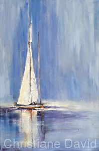 Sailing on Glassy Waters by Christiane David Oil ~ 36 x 24