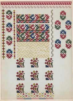 Folk Embroidery, Embroidery Stitches, Embroidery Patterns, Cross Stitch Borders, Cross Stitch Patterns, Pattern Books, Folk Art, Needlework, Diy And Crafts