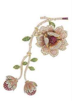 AN ENAMEL, DIAMOND AND RUBY FLOWER BROOCH