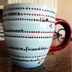 Mug crafted with the Pi Phi values.such a cute and easy project and add those Alpha Phi values on there! Pi Beta Phi, Phi Sigma Pi, Alpha Xi Delta, Phi Mu, Mug Crafts, Sorority Life, Sorority Sugar, Cocoa Party, Sorority Crafts