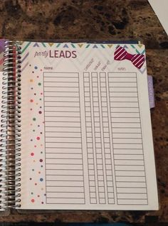 Erin condren direct sales planner insert Etsy listing at https://www.etsy.com/listing/200969818/direct-sales-party-leads-planner-insert
