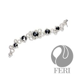 Fine sterling silver bracelet 925 fine sterling silver    - 925 fine sterling silver  - 0.5 micron natural rhodium plating  - Set with AAA white cubic zirconia and black cubic zirconia  - Dimension:    Part of the FERI Bridal Lines.       RETAIL PRICE ON OUR FERI WEBSITE AND AT OUR FASHION GALLERY IS $1526. OUR EXCLUSIVE LIMITED TIME PRICE FOR ETSY BUYERS IS $1750    Items are handmade and the stones are hand cut in our Lab in Toronto Canada..  Each item is unique becuase of the hand cut…