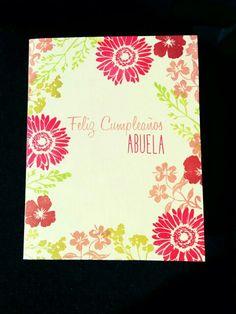 "Tarjeta cumple abuela para reto ""Crea tu propio papel decorado"" para la marca www.laparejacreativa.com/blog"