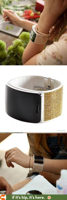 VISIT FOR MORE Swarovski designs a crystallized band for the new Samsung Gear S watch. Details at www. Techno Gadgets, New Gadgets, Gadgets And Gizmos, Samsung Gear S, New Samsung, Samsung Mobile, Laura Ashley, Trends 2018, Mobiles