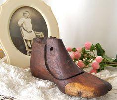 Vintage Cobblers Shoe Form Childs Walnut Shoe by cynthiasattic