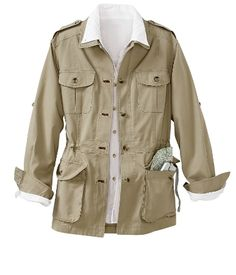 bush poplin safari jacket from travelsmith