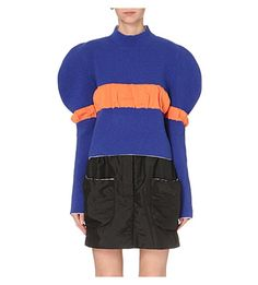 J.W.ANDERSON Puff-Sleeve Knitted Jumper. #j.w.anderson #cloth #knitwear