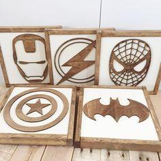 Superhero Sign- Walnut Stain- Superhero Wall Art- Boys Bedroom Decor- Neutral Nursery Decor- Superhero Nursery- Kids Bedroom Decor
