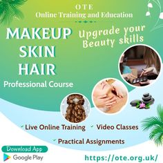 Want to excel your makeup career or grow your skills as a beauty expert? Upgrade your beauty skills by joining Makeup, Skin and Hair Professional course offered by Online Training and Education (OTE) website/app and update your skills to offer even more professional skincare, hair care or beauty treatments. Course Offering, Makeup Yourself, Google Play, Hair Care, App, Education, Career, Skincare, Training