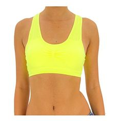 TD Women's Freedom Seamless Racerback Sports Bra (Small/Medium, Neon Yellow)