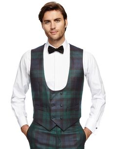Pure New Wool 1 Button Check Eveningwear Suit Including Waistcoat | M