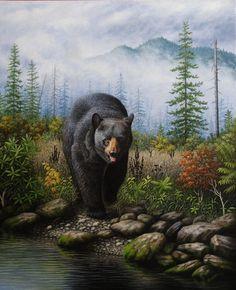 Smoky Mountain Black Bear Painting - Smoky Mountain Black Bear by Robert Wavra Bear Paintings, Wildlife Paintings, Wildlife Art, Aigle Animal, Bear Drawing, Bear Pictures, Bear Art, Black Bear, Animal Drawings