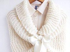 """étole de mariage blanc """"tricotée etole"""" """"Hiver châle de mariée"""" : Echarpe, foulard, cravate par melibijou"""