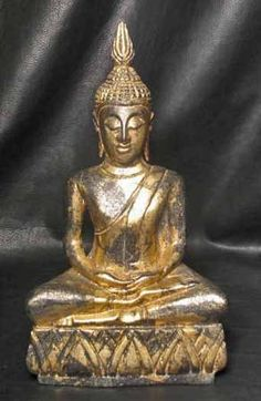 "14 1/4"" Hand Carved Gilded Monkey Pod Wood Samadhi Sukhothai DhyAna Mudra Thai Buddha"