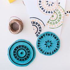 DIY etnic summer garland with two inks and rubber stamps (in Spanish)
