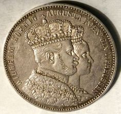 1861-A GERMANY PRUSSIA - 1 THALER - CORONATION WILHELM & AUGUSTA - SILVER - RARE