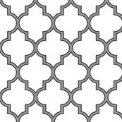 Moroccan Outline Quatrefoil in Black and Cashmere by sparrowsong