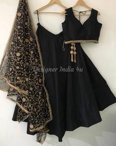 Indian Designer Black Color Silk Wedding Party Wear Lehenga Choli Dupatta Blouse for Women Girls Custom Made to order Plus Size Lengha Blouse Lehenga, Lengha Blouse Designs, Black Lehenga, Lehnga Dress, Indian Lehenga, Silk Lehenga, Lengha Design, Lengha Choli, Tumblr Outfits