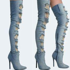 Privileged Distressed Thigh High Denim Boot