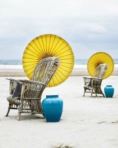 Yellow + Turquoise against seaside neutrals