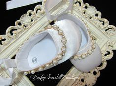 White Satin Baby Girl Soft Sole by babyScarlettBoutique on Etsy, $17.99