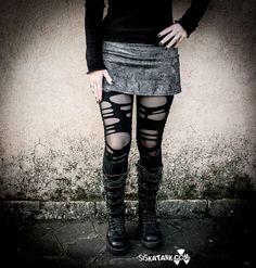 """Dusty"" grey denim short skirt by siskatank."