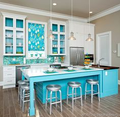 The Wow Factor: Cheryl Kees Clendenon's Divine Kitchen Design. Turquoise and white contemporary kitchen design. Love this one - truly captures my idea of living on the beach. Carefree, comfortable, casual and GORGEOUS!