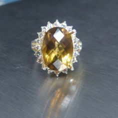 5.85ct Natural Citrine top quality & white sapphires ring by EVGAD, £49.99