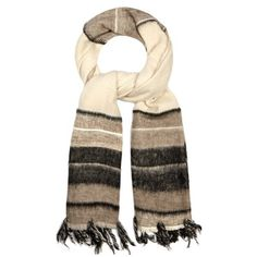Denis Colomb Dolpo cashmere-blend scarf (68.935 RUB) ❤ liked on Polyvore featuring accessories, scarves, cream multi, lightweight scarves, patterned scarves, denis colomb scarves, denis colomb and woven scarves