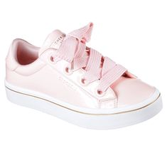 Your flair for clean retro style comes shining through with the SKECHER Street Hi-Lites - Slick Shoes shoe.  Smooth shiny patent synthetic upper in a lace up classic sporty tennis-style sneaker with stitching and overlay accents.  Air Cooled Memory Foam insole, fun fat-laced design.