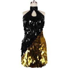 Short Handmade Paillette Black and Gold Sequin Dress ($219) ❤ liked on Polyvore featuring dresses, sequin embellished dress, sequin cocktail dresses, paillette sequin dress, sequined dress and paillette dress