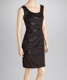 Take a look at this Black Sequin Sleeveless Scoop Neck Dress by R Richards on #zulily today!