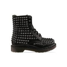Dr. Martens Spike (315 NZD) ❤ liked on Polyvore featuring shoes, boots, ankle booties, botas, black, faux-fur boots, dr martens boots, spiked flats, spiked booties and black spiked flats