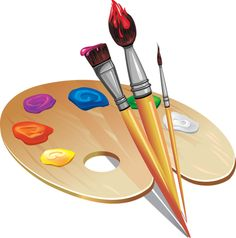 "Photo from album ""Кисточки, краски"" on Yandex. Art Party, Dog Portraits, Paint Brushes, Art Logo, Art Images, Art For Kids, Palette, Clip Art, Hand Painted"