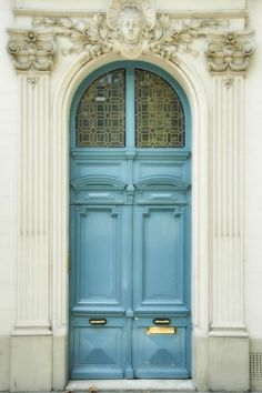 """Light blue door and ivory facade, Marais district, Paris, France. Previous pinner wrote: """"Taken by my sister Cheryl in the Marais district of Paris, for me. (I was almost in the photo! Grand Entrance, Entrance Doors, Doorway, Front Doors, Cool Doors, Unique Doors, Door Knockers, Door Knobs, Porte Cochere"""