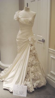 Pnina Tornai One Shoulder Ruched With Floral Inset Mermaid Wedding Dress | Nearly Newlywed