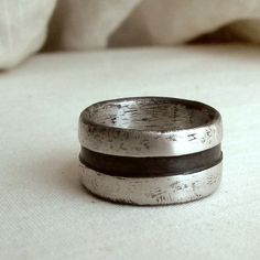 Black Stripe RIng  Size 9  Sterling Silver  Unisex  by andyshouse, $140.00