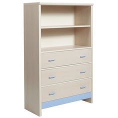 Fanfair kids 3 Drawer Chest with shelving unit top in Beech with Blue Trim is suitable for tots to teens finished in high quality easy to clean Melamine, and available with a choice of Blue/Pink or Beige colour trims. #Furniture #Bedroom #BedroomFurniture #Drawer #DrawerChest #FanfairKids http://pricecrashfurniture.co.uk/fanfair-kids-3-drawer-chest-with-shelving-unit-top-in-beech-with-blue-trim.html