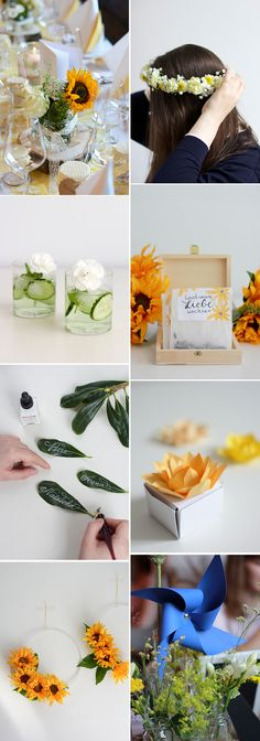we love handmade: Unsere DIY-Ideen für eine Gartenhochzeit - we love handmade #hochzeit #hochzeitsdekoration Partys, Diy Wedding, Table Decorations, Weddings, Inspiration, Handmade, Fake Flowers, Place Cards, Floral Wreath