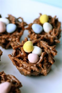 Bird Nests: unsalted butter, for greasing the muffin pan 6 ounces (1/2 bag) of semi-sweet chocolate chips 6 ounces (1/2 bag) of butterscotch chips 1 cup creamy peanut butter 6 ounces (1/2 of a large bag) of chow mein noodles 36 mini Cadbury eggs