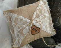 Burlap and Lace Personalized Ring Bearer Pillow-Wedding Pillow - Personalized Wedding Pillow- Country Wedding - Rustic Wedding - Ring Bearer