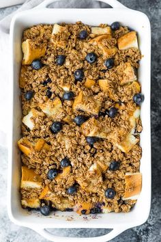 Blueberry Overnight French Toast Bake in a casserole dish Healthy Breakfast Meal Prep, Breakfast For A Crowd, Perfect Breakfast, Food For A Crowd, Breakfast Dishes, Overnight French Toast, French Toast Bake, French Toast Casserole, Breakfast Casserole