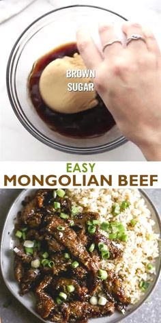 16 reviews · 30 minutes · Gluten free · Serves 4 · This easy Mongolian Beef recipe is better than take-out and can be made in just 30 minutes! Tender beef and fresh green onions in an amazing garlic and ginger asian sauce, served over hot cooked rice. Crock Pot Recipes, Meat Recipes, Cooking Recipes, Healthy Recipes, Cooking Ideas, Minute Steak Recipes, Leftover Ham Recipes, 15 Minute Meals, Oven Recipes