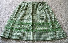 Vintage Gingham Apron  Green and White by VintagePlusCrafts, $6.00